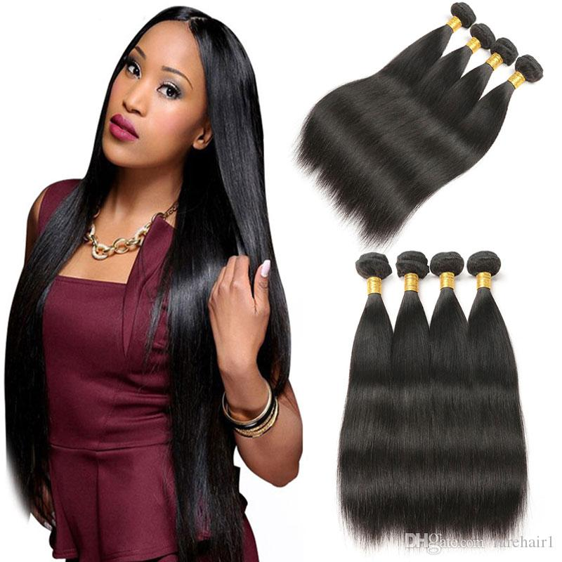 4 Bundles Deal Brazilian Straight Hair Extensions 8 30 Inch Non Remy