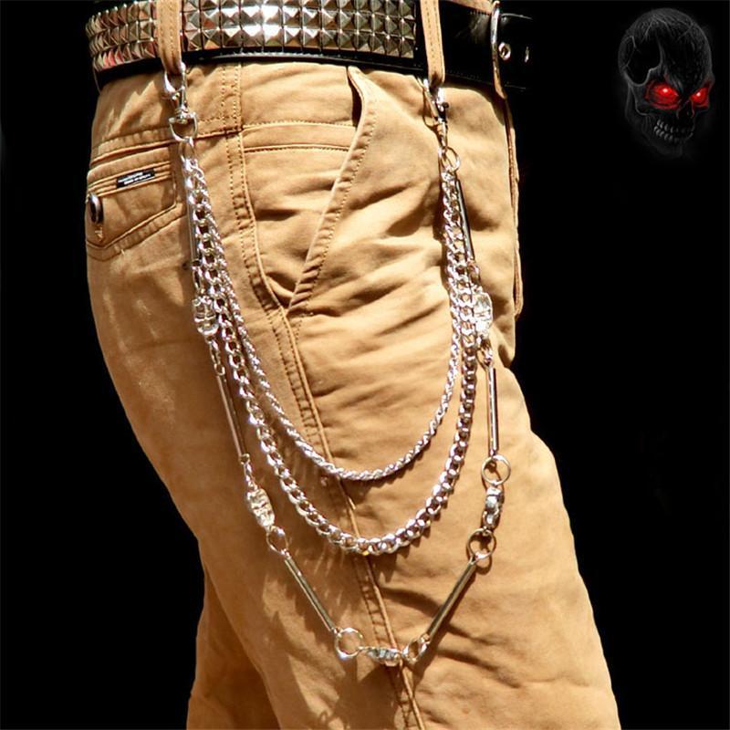 36849e2cbafe Acheter Biker Jean Portefeuille Chaînes Argent Ghost Rock Punk Hip Pop Porte  Clés En Métal Pantalon Motorcyle Pantalon En Cuir Chaîne DR62 De  16.62 Du  ...