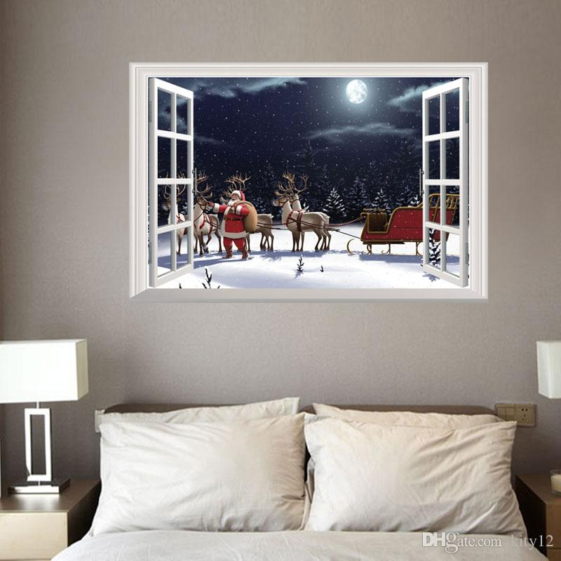 10 styles New Christmas Santa Claus elk Wall Stickers for Christmas Day home decor removable window stickers