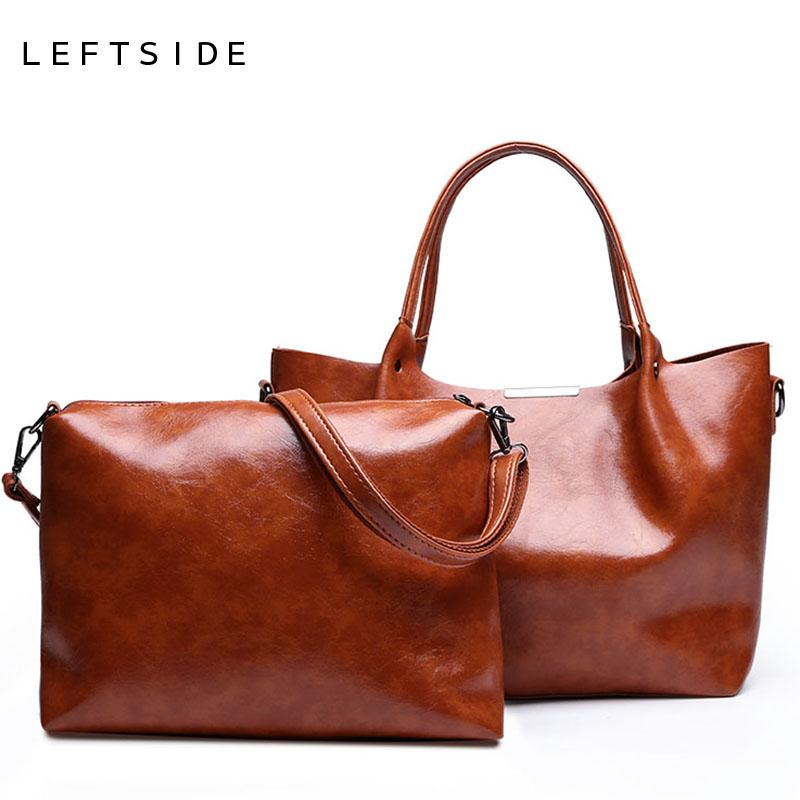 a7893b3400 LEFTSIDE Women Messenger Bags 2018 Fashion Oil Wax Leather Crossbody Bag  Luxury Handbags Lady Bags Shoulder Bag Men Bags Handbag Wholesale From  Paradyse