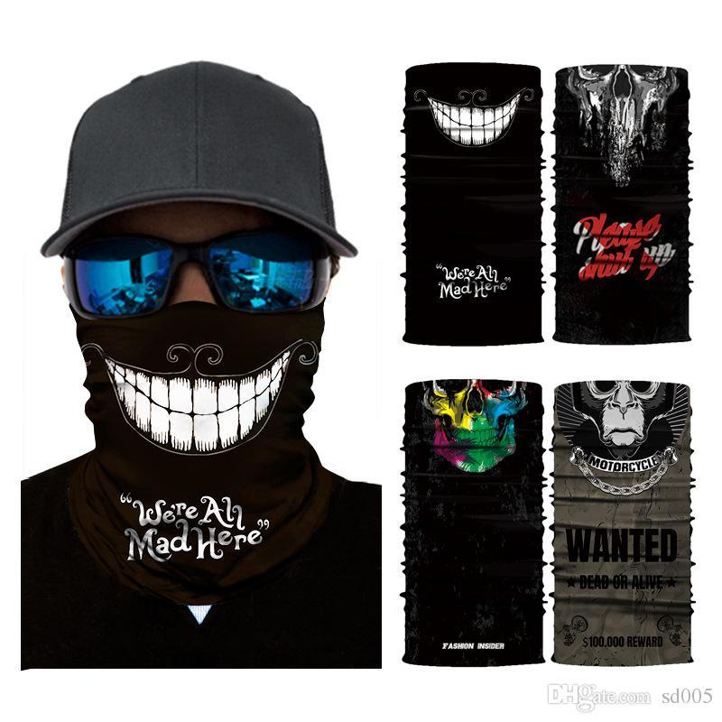 Acquista Halloween Skull Bandana Fashion 3D Senza Collo Di Cotone Maschera  Viso Designer Joker Foulard Protezione Sciarpa Della Bicicletta Regalo Gli  Uomini ... 7a968267ec4a