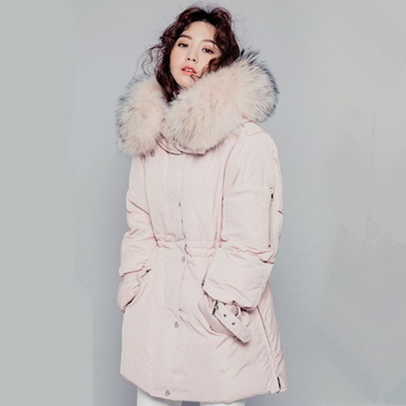 HIJKLNL Parkas 2017 New Pink Down Duck Jacket Coat Women Winter Mid-long Big Real Fur Collar Hooded Thick Jackets Coat LH464