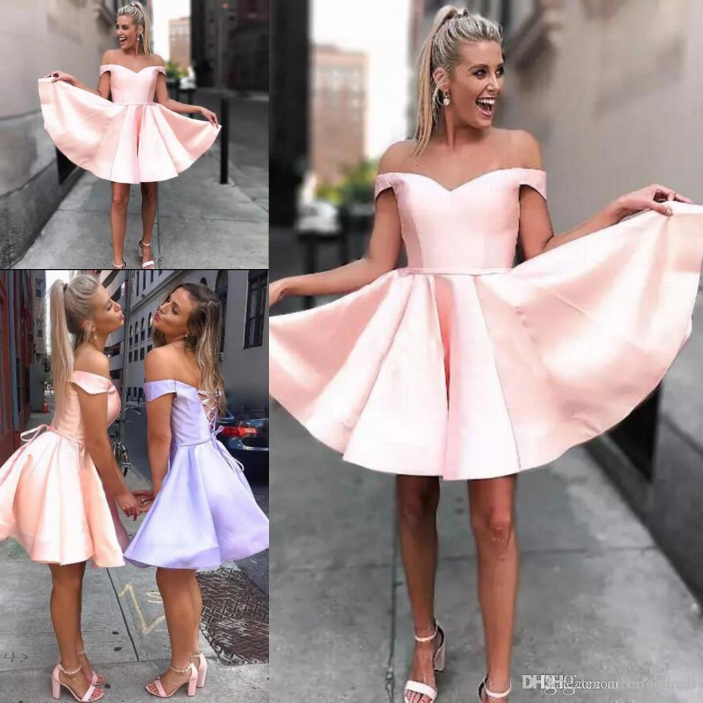 fed3d694788 Off The Shoulder Pink Short Homecoming Dresses Cute Short Party Dresses  Simple Lavender Prom Cocktail Dresses Bandage Lace Up Back Night Dresses  Plus Size ...