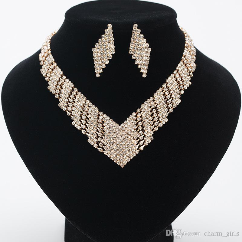 exquisite Bridal Crystal Necklace White Rhinestones Mosaic Wedding Dress Jewelry Lady Earrings Necklace Set model Dress accessories