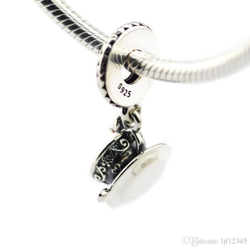 Femme Perles Enchantée Tasse À Thé Balancent Charme Fit Chaîne De Serpent Européenne Bracelet Bracelet En Argent Sterling Bijoux Charmes pour la fabrication de bijoux