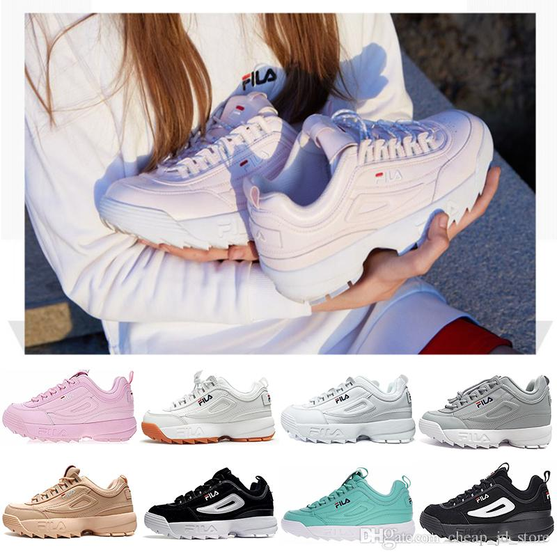 2019 New Fila Disruptors II 2 Triple White Black Pink Women Special Section  Sports Sneaker FILE Increased Jogging Mens Running Shoes 36 44 Running Shoe  Best