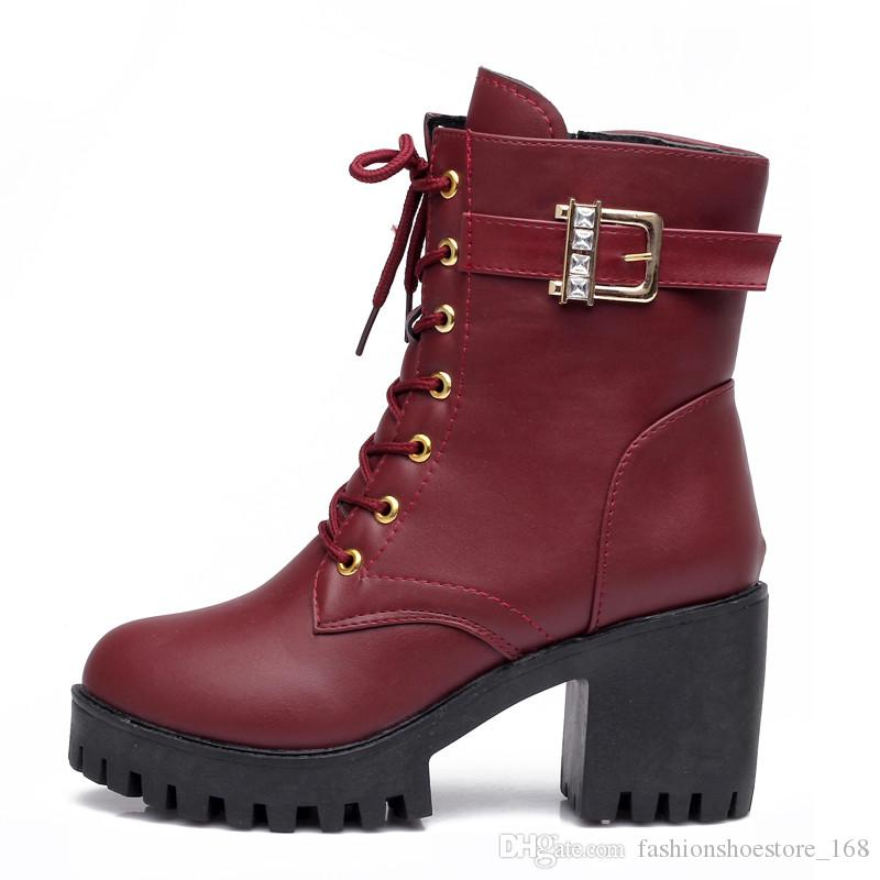 ab6add67 Compre Otoño Invierno Botines Nuevos Zapatos Botines 2018 Mujer Moda Con  Cordones Botas De Tacón Grueso Mujer Hebilla Casual Correas Botas Cortas A  $49.34 ...