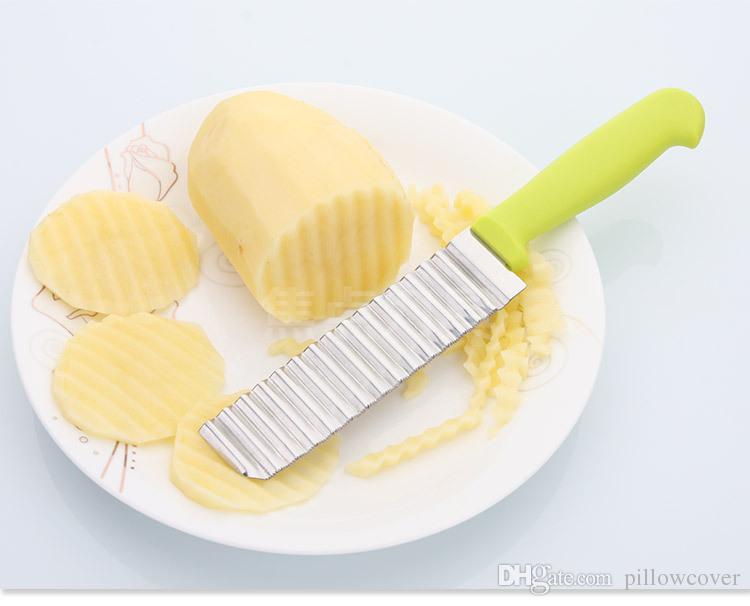 Paslanmaz Çelik Fransız Fry Patates Chip Kesici Patates Dalgalı Bıçak Kızartması Patates Cipsi Plastik Saplı Pişirme Araçları Sebze Dilimleme bırak gemi