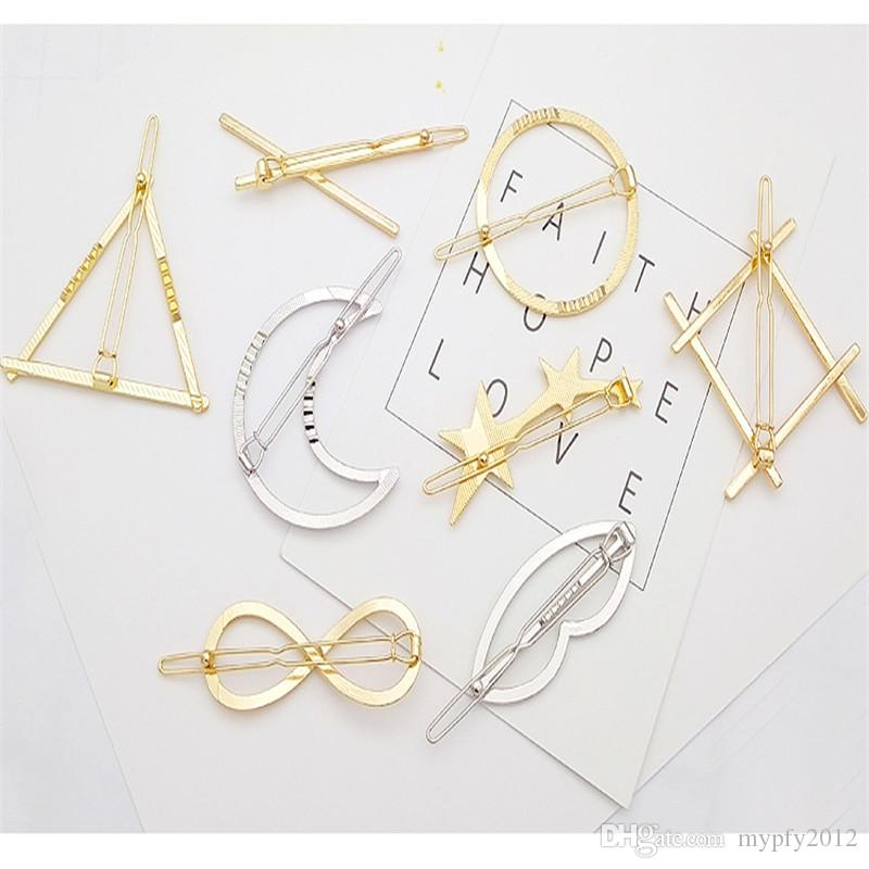 New Fashion Silver Gold Color Mix Designs Hair Jewelry For Women Moon Triangle Hair Clips Wedding HairClip DQ
