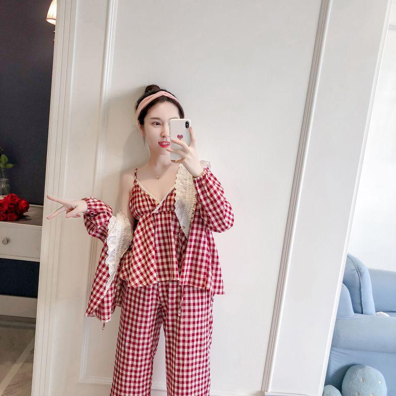 590ea14c979e Compre Princesa Dulce Lolita Pijama Princesa Pijama De Encaje Mujer Kimono  Antiguos Enrejados Cabestrillo De Algodón Manga Larga MHH NK085 A $95.56  Del ...
