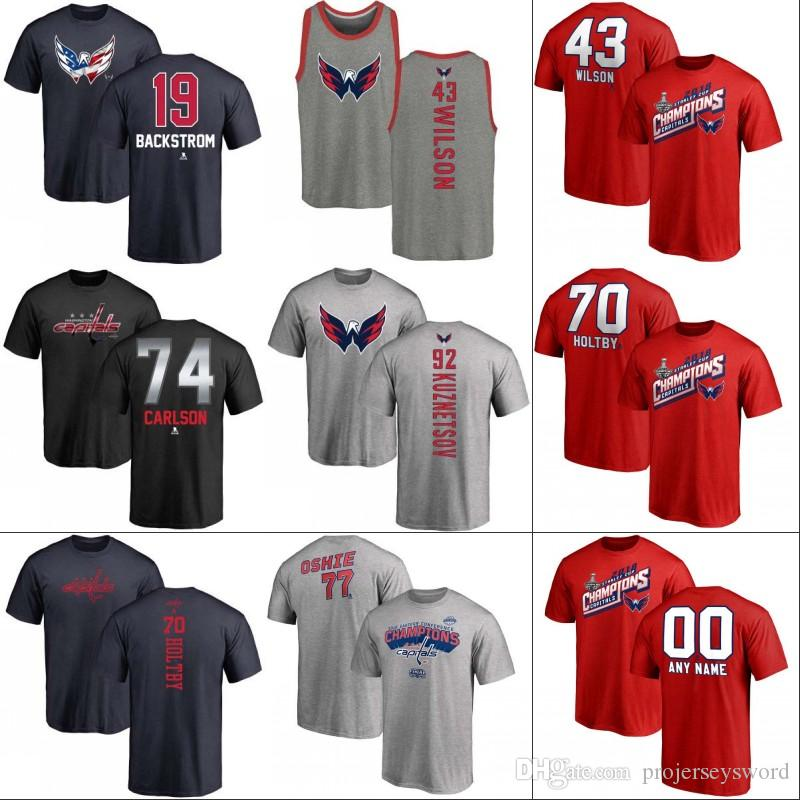 2019 2018 Stanley Cup Champion T Shirt Mens Washington Capitals 8 Alex  Ovechkin 19 Nicklas Backstrom 43 Tom Wilson 70 Braden Holtby 77 T.J. Oshie  From ... a8b717cbba899