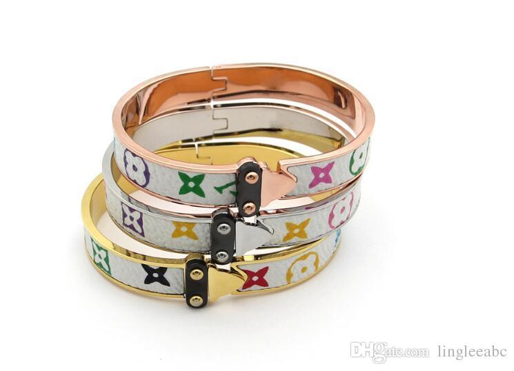 Fashion Jewelry Bangle For Women Men Gold plated Wristhand Belt Bangles Cuff Buckle love Bracelets