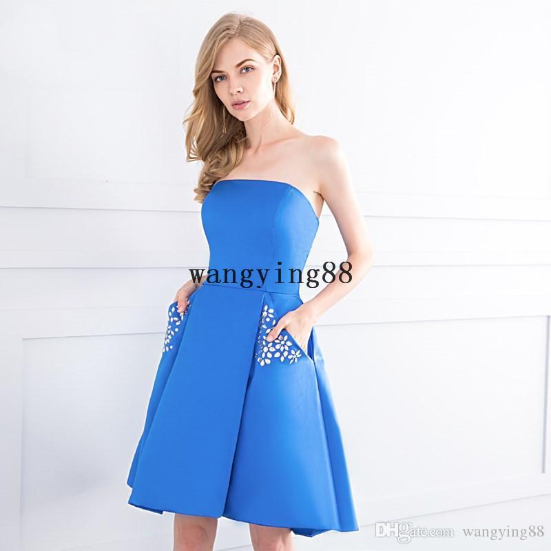 Robe de soirée courte simples cetim strapless azul vestido de baile com bolsos para adolescentes júniors graduação vestido de baile