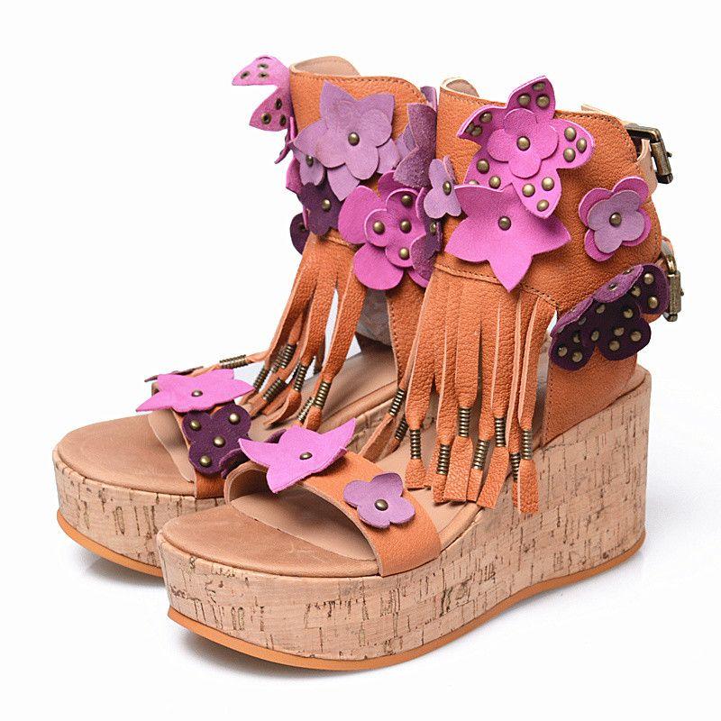 Plateforme Compensée Chaussures Bohême Sandale Sandales Escarpins Feminina Femme Compensées Femmes Sandalia Glands Gladiator BrxWCode