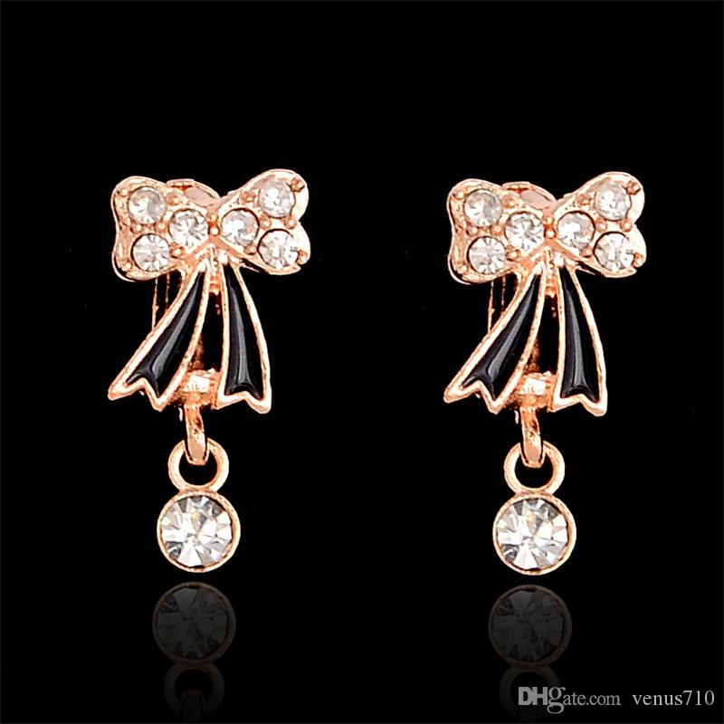 ce78937fb 2019 Wholesale H:HYDE Cute Gold Color Bowknot Pave CZ Crystals Round Circle Small  Hoop Earrings For Children Girls Baby Kids Jewelry Aros From Venus710, ...