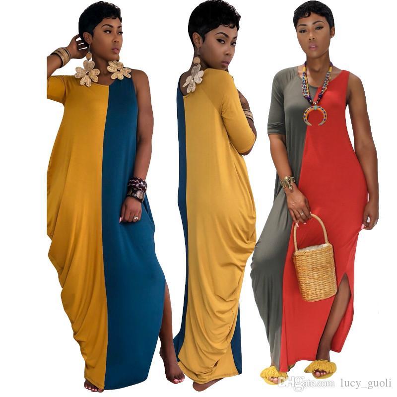 buy popular b4ac4 15308 Casuali Vestito Sexy Cotone Donna Size Casual Lunghi ...