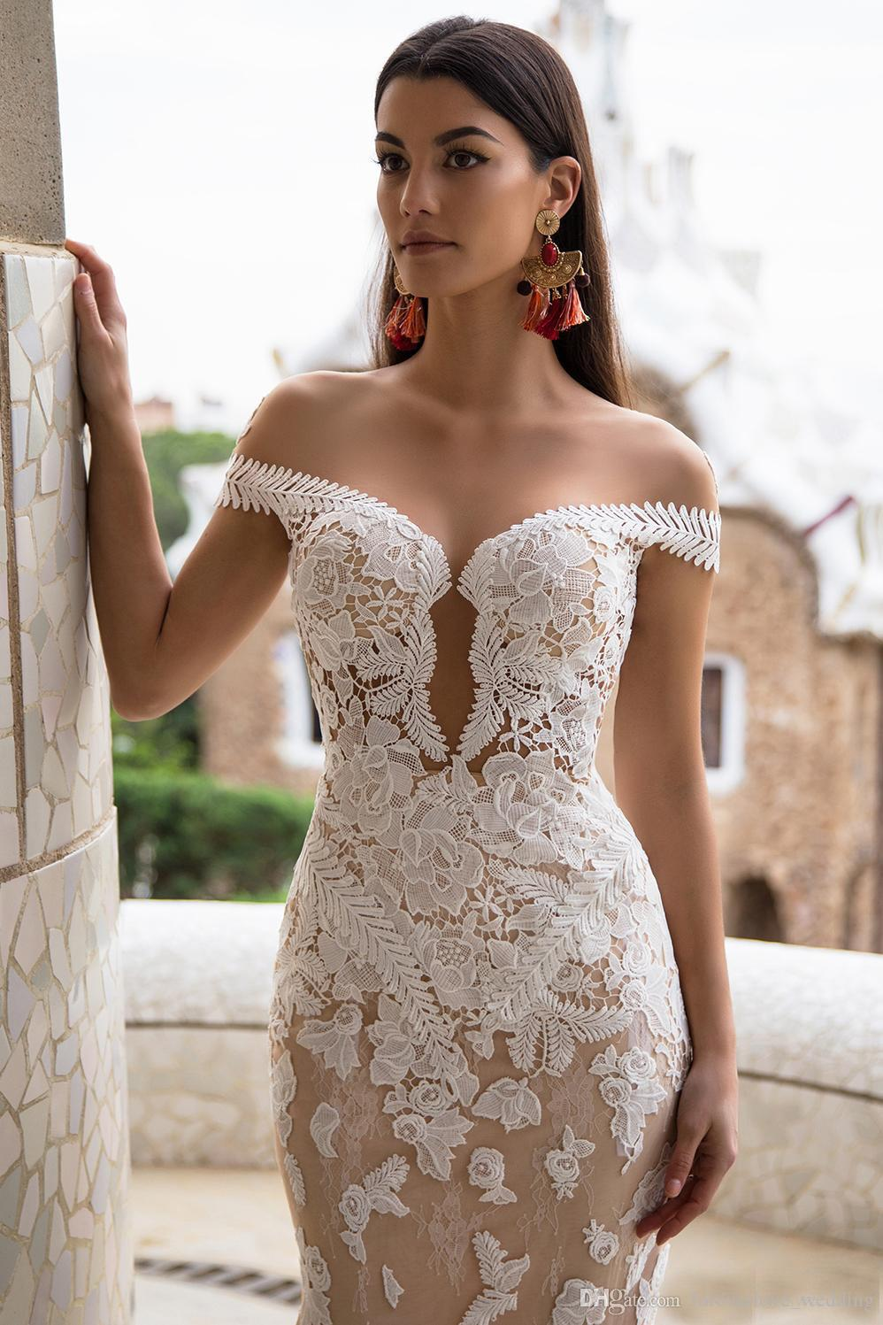 Milla Nova Champagne Mermaid Wedding Dresses with Detachable Train Robe de Mariée Sexy Off the Shoulder Lace Appliques Backless Bridal Gowns
