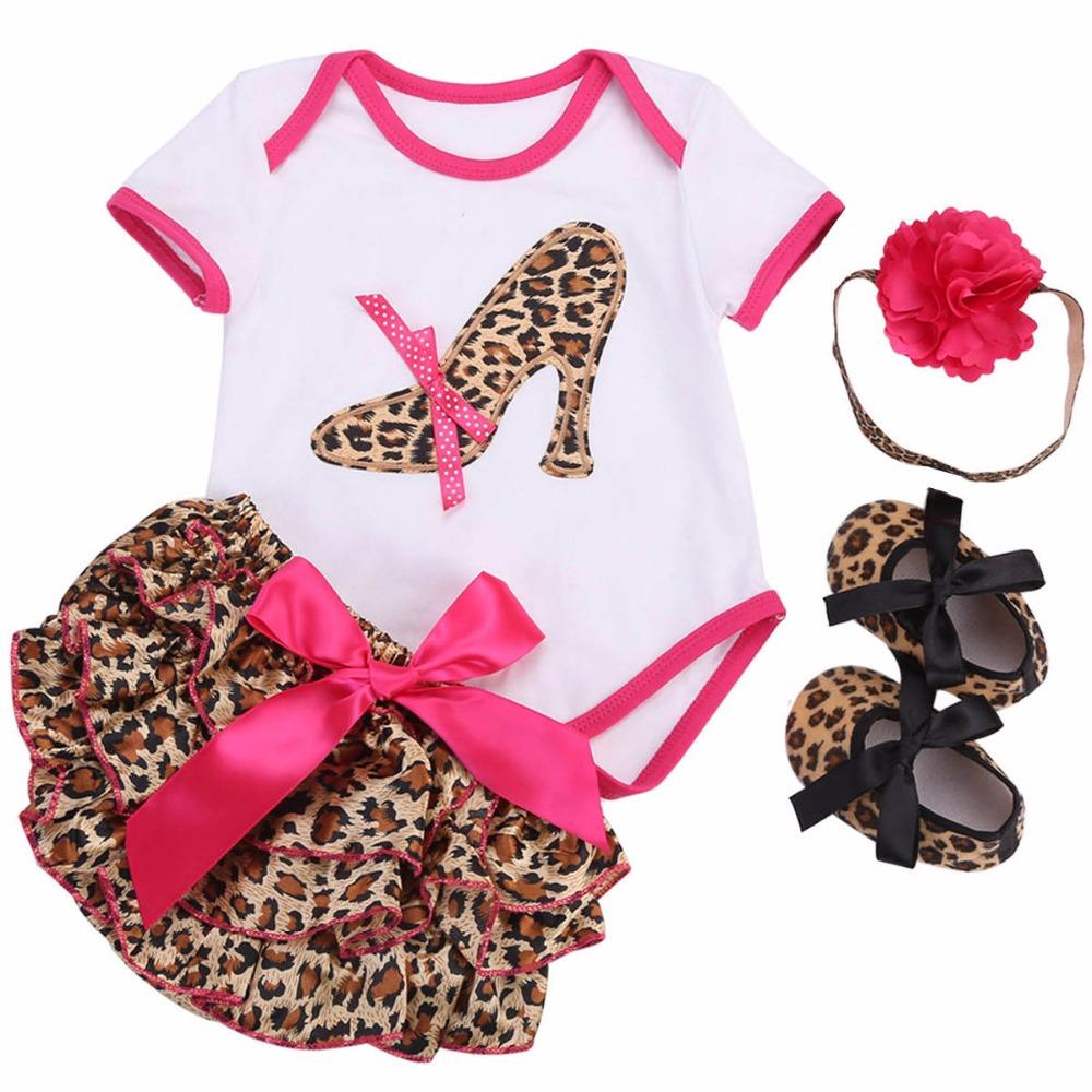 b2ec3d82dc19 2019 Newborn Baby Girl Clothing Set Leopard Short Shoes Headband Bodysuit Baby  First Birthday Outfit Toddler Girl Clothes Summer 2017 From Luckyno