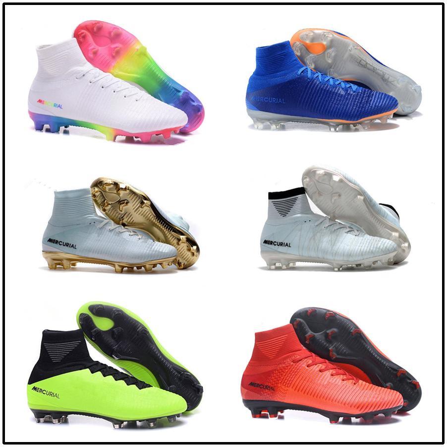 Compre Nuevos Zapatos De Fútbol CR7 Para Hombre Oro Rojo Mercurial Unisex  Superfly V Botines De Fútbol Cristiano Ronaldo Hombres Niños Botas De Fútbol  ... b223776aca4ff