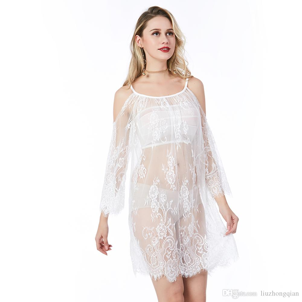 Beauty Garden Women Sexy Lace Dress Hollow Fashion Half Sleeve Mini-Length Loose Dress Female