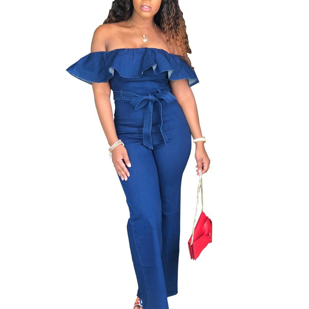 e0dbc5555d7 2019 New Sexy Women Off Shoulder Denim Jumpsuit Rompers Slash Neck Ruffles  Playsuit Wide Leg Strapless Fashion Female Overalls Blue From Worsted