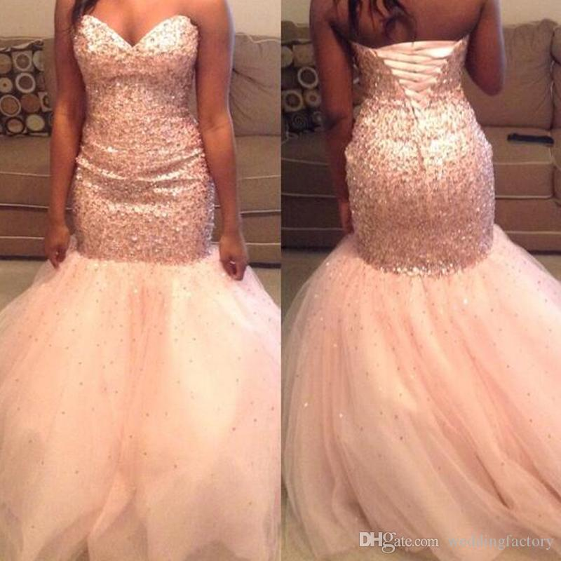 34acba8740aa 2019 Plus Size Mermaid Prom Dresses Sweetheart Sleeveless Sequins Crystals  Lace Up Corset Back Blush Pink Tulle Evening Party Gowns Sequined Prom  Dresses ...