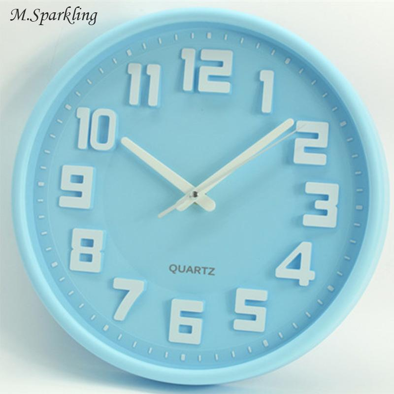 Msparkling Simple Wall Clock 12 Inch Candy Color 5168s Silent Sweep