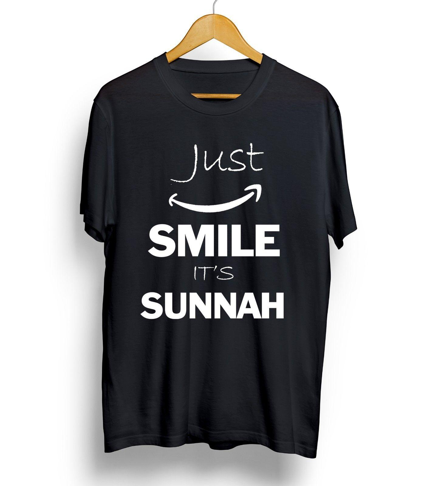 2e399c297 Just Smile It's Sunnah T-shirt Arabic Islam Muslim funny Eid Ramadhan Top  Mens Funny free shipping Unisex Casual tee gift