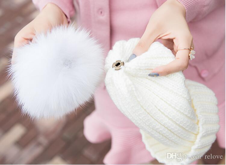 Quality Removable Real Fox Fur Pom Ball Knitted Acrylic Beanies Winter Warmer Plain Hats Adults Kids Children Slouchy Mens Womens Snow Cap