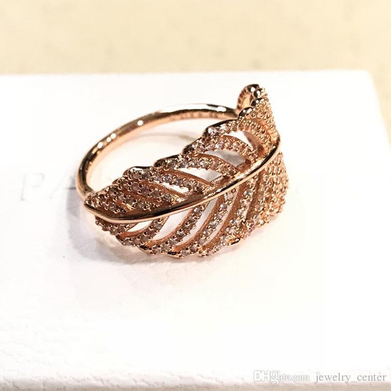 925 فضة الريشة خواتم مرصعة تشيكوسلوفاكيا واضحة الماس تناسب باندورا مجوهرات نمط للمرأة روز 18K الذهب كريستال خاتم الزواج