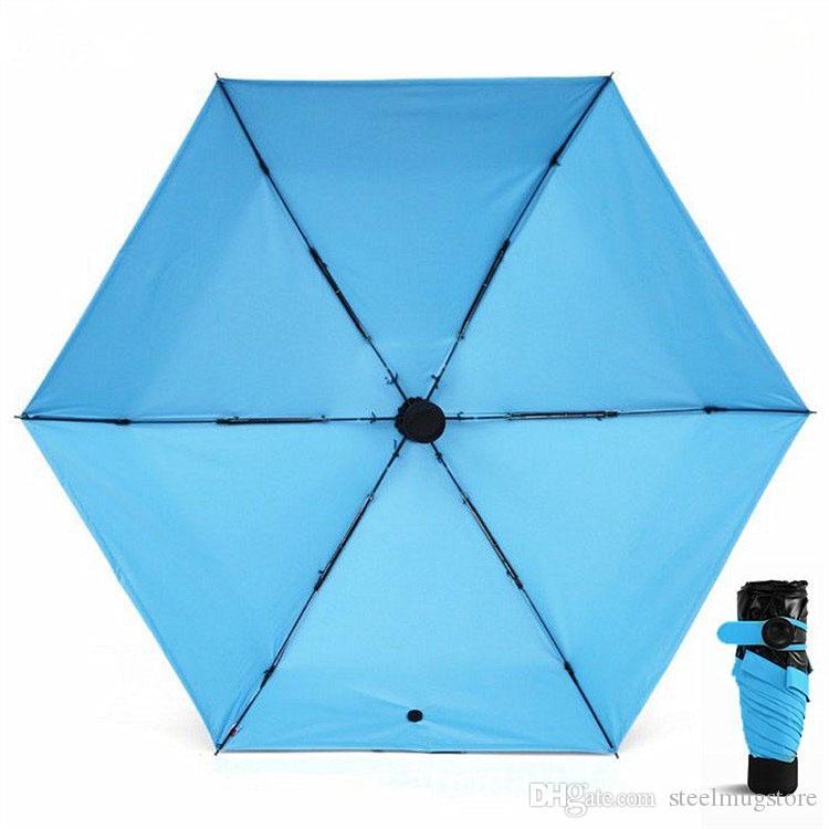 Высочайшее Качество !Мини Карманный Зонтик Компактный Ветрозащитный Складной Путешествия Зонтик Супер Легкий Портативный Зонты От Солнца 5 Цветов