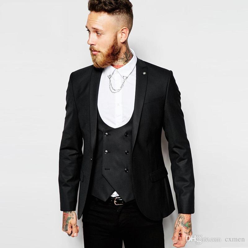 Acheter Costumes Sur Mesure Hommes Costumes Pour Le Mariage Noir Tuxedos  Italien Meilleur Homme Blazer Veste Slim Fit Terno Masculino 3 Pièces  Double Gilet ... ac48c85b915