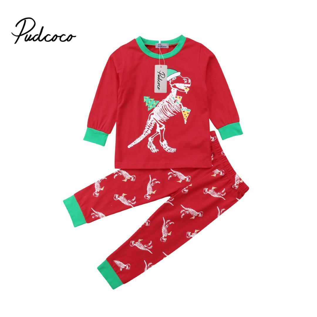 d3c2a4347 2019 Kids Baby Girl Boy Xmas Pajamas Kids Child Pizza Dinosaur T Shirt Tops  Pants Outfit Clothes Clothing Set From Callshe, $37.76   DHgate.Com