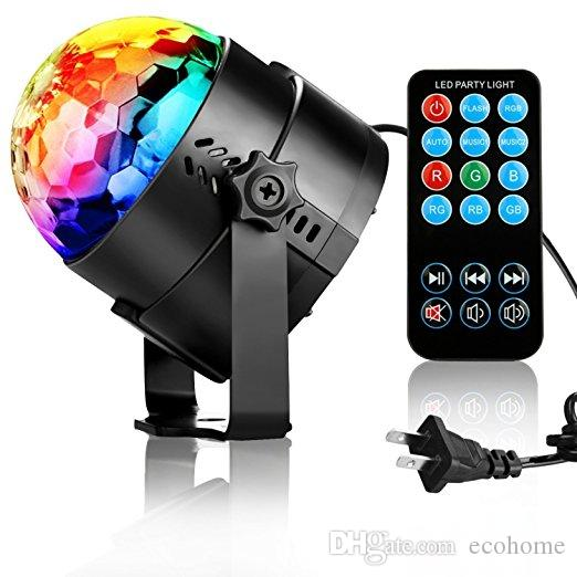 LED Stage Light Crystal Rotating RGB Party Lights Disco Ball Sound Activated Laser Light Projector for Home Birthday Wedding Decoration