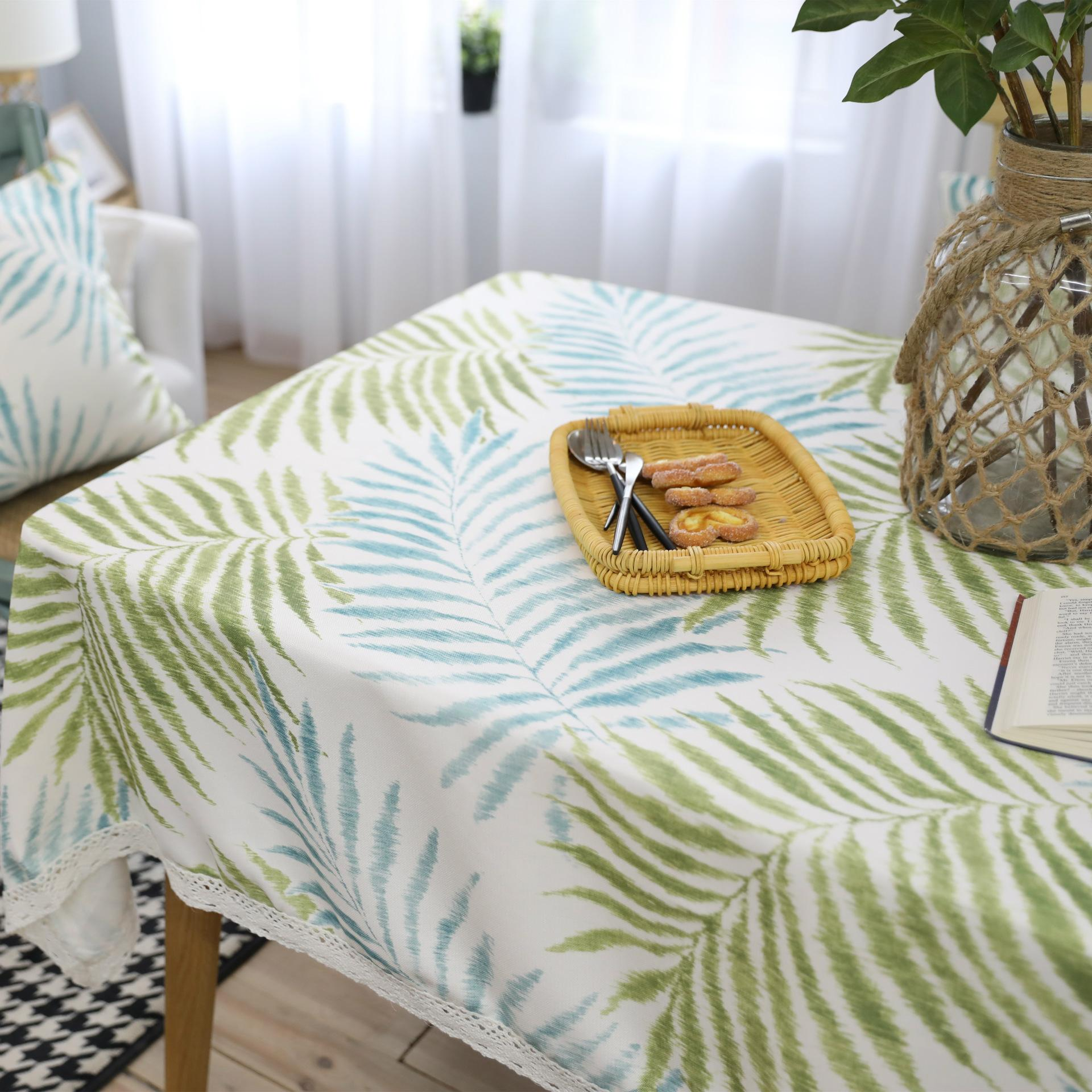 Pastoral Leaf Pattern Decorative Table Cloth Cotton Linen Lace Tablecloth  Dining Table Cover Kitchen Home Decor Restaurant Table Linens Card Table ...