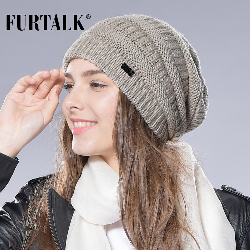 f7d9cdb4 FURTALK Autumn Winter Wool Knit Slouchy Hat for Women and Girls Cross Caps  Women Wool Knit Beanie Braided Hats Stocking Hat