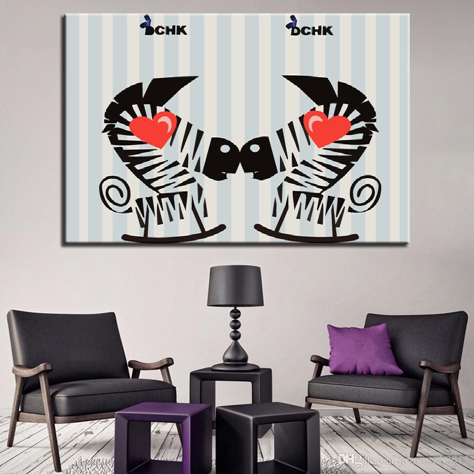 Canvas HD Prints Pictures Wall Art Home Decor 1 pezzo / pezzi Charming Love Zebra Paintings Poster del fumetto la struttura del soggiorno