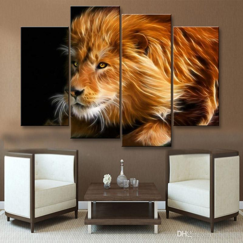 painting & calligraphy print lion canvas poster wall art living room restaurant Bedroom Decorative paintings SZ4-011