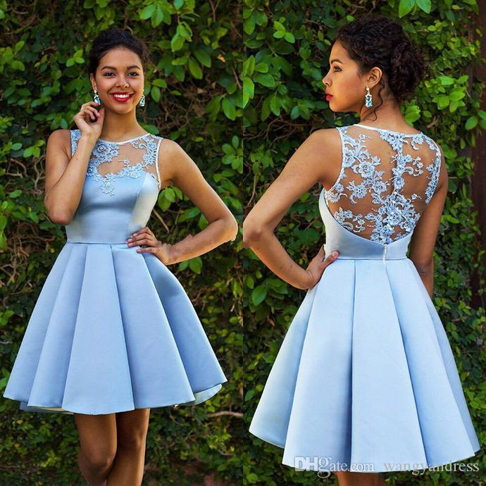 bfe0e56528 Light Sky Blue Short Homecoming Dresses Applique Lace Satin Ruffles Cocktail  Party Gowns Plus Size African Prom Dress High School Homecoming Dresses ...
