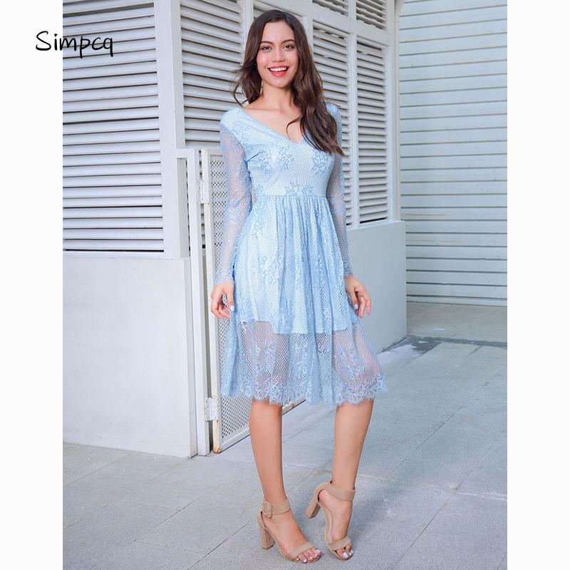Simpcq Summer 2018 Lace Openwork Knee-Length Full Sleeve V-neck Dress for  Female Party Evening Elegant Beautiful G-81187 Online with $29.22/Piece on  ...
