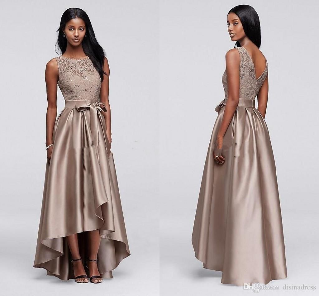 Brown Sequin Lace Mother of the Bride Groom Dresses High Low A-line Cheap Women Formal Party Prom Dress Evening Gowns