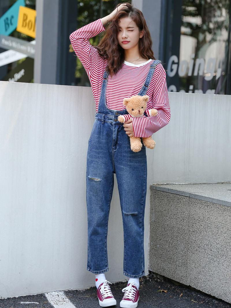 aa5fd05718b9 2019 S L Korean Style Women Ripped Denim Jumpsuits Casual Romper Ladies Denim  Overalls Womens Harem Pants B861 From Smotthwatch