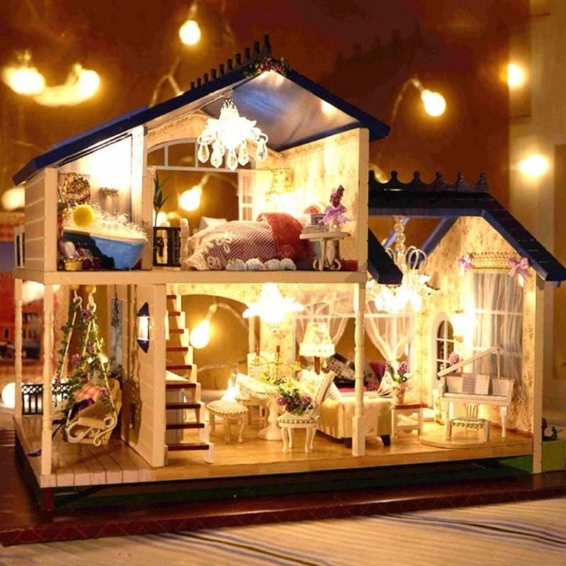 Lighting for dollhouses Miniature Handcraft Miniature Doll House Voiceactivated Led Lightmusic With Cover Provence Handmade 3d Dollhouse Toys Girl Gits Amazoncom Handcraft Miniature Doll House Voice Activated Led Lightmusic With