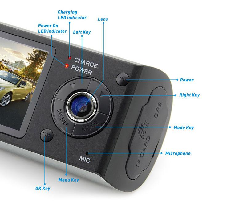"Dual Camera Car DVR R300 GPS and 3D G-Sensor 2.7"" TFT LCD Cam Video Camcorder Cycle Recording Digital Zoom /lopt"