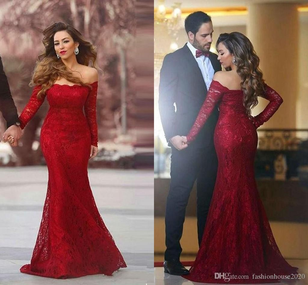 455771de89 2018 Dark Red Mermaid Prom Dresses Off Shoulder Long Sleeves Illusion Full  Lace Applique Button Back Arabic Party Gowns Sexy Pageant Evening Boutique  Prom ...