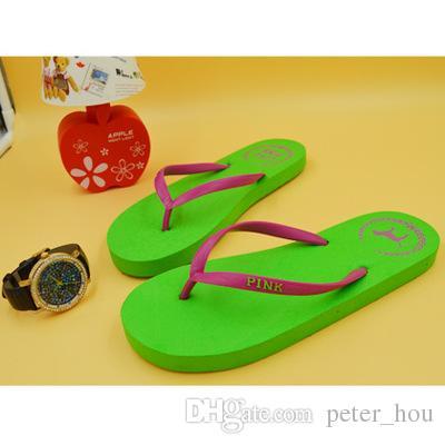 Girls Pink Flip Flops Love Pink Sandals Pink Letter dog Beach Slippers Shoes Summer Soft Sandalias Beach Slippers