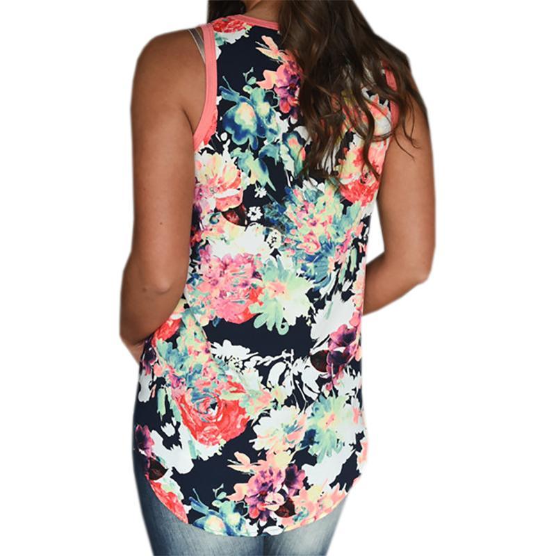 3b652f6de5717 2019 Boho Floral Print Tank Tops Summer Women Tanks Loose O-neck ...