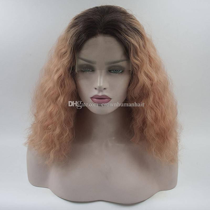 b914dc47901 Ombre Orange Wavy Synthetic Lace Front Wigs Brown Roots Orange Curly Short  Bob Synthetic Wig Heat Resistant Hair Cosplay Wigs For Women