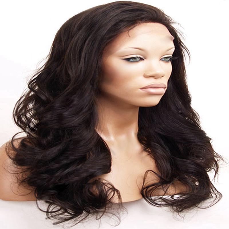 Hot Selling Hair Products Virgin Brazilian Hair Front Lace Natural Color 8-26inch 130-180% Density Body Wave Full Lace Human Hair Wigs