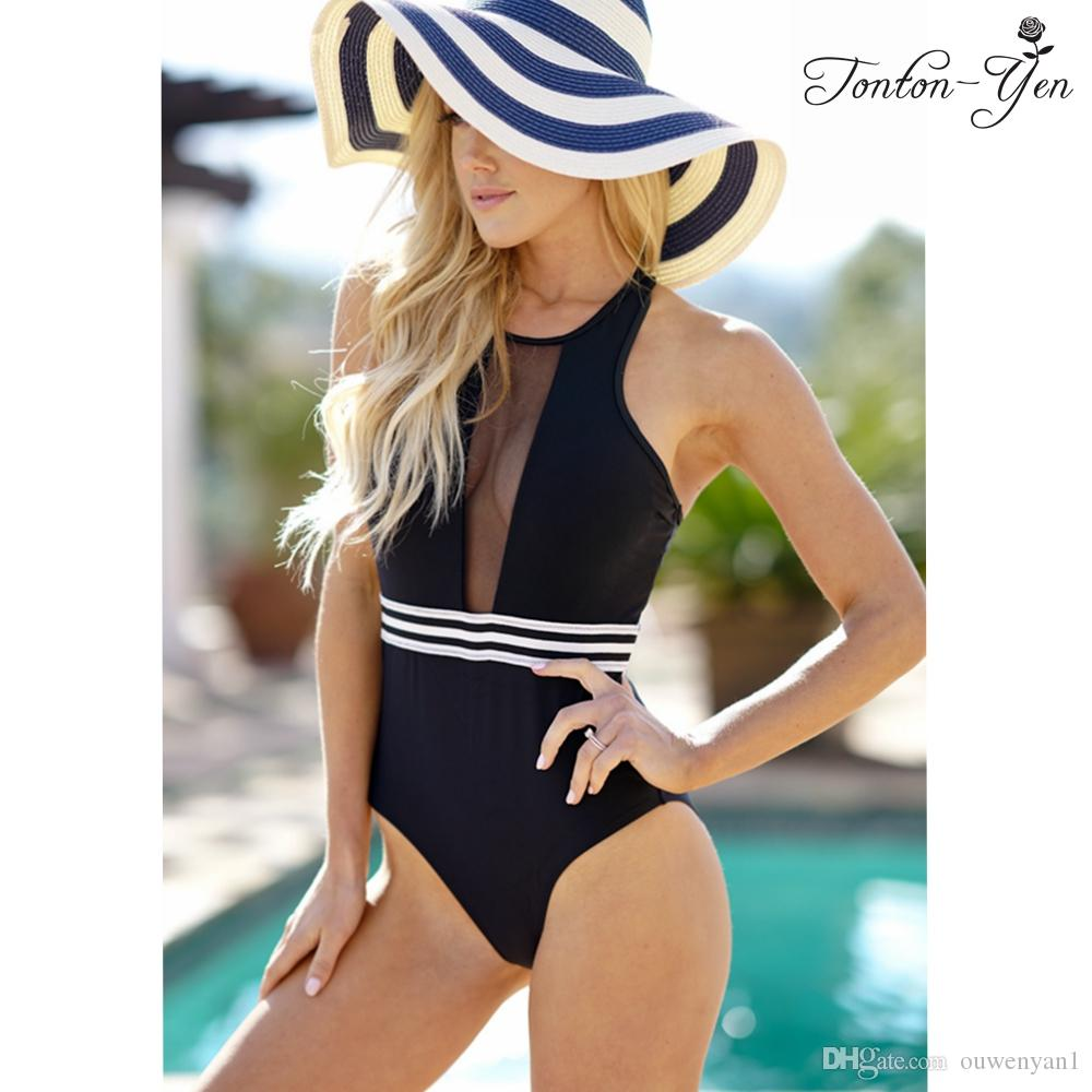 2250d8a11ed 2019 Sexy Deep V Neck One Piece Swimsuit Women Swimwear Female Bathing Suit  Black High Waist Swim Wear Hollow Out Monokini Beachwear From Ouwenyan1, ...
